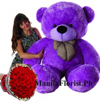 5 feet giant bear with red rose bouquet