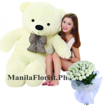 4 feet giant bear with rose bouquet