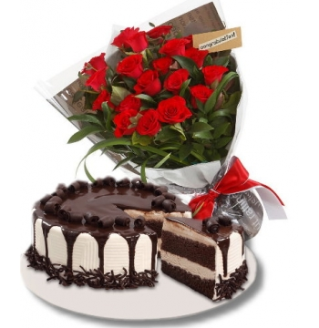 12 Red Roses with Tiramisu Cake to Manila