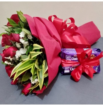 12 Red Roses with Cadbury Dairy Milk Chocolate