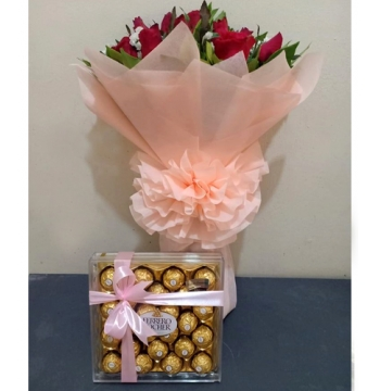 One Dozen Red Roses with 24 Pcs Ferrero