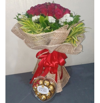 18 Red Roses with Ferrero Heart Box