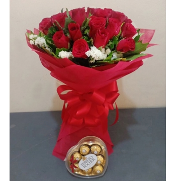 24 Red Roses with Ferrero Heart Box