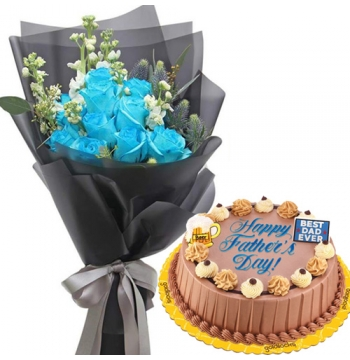 12 Blue Roses in Dedication Cake