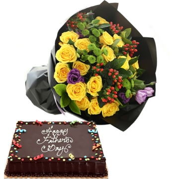 Yellow Roses with Dedication Cake