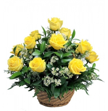 One Dozen Bright Yellow Roses