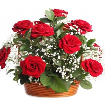 One Dozen Red Roses in Basket