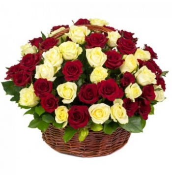 24 Red & Yellow Roses in Basket to manila philippines