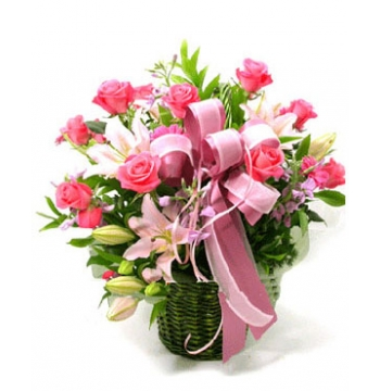 12 Pink Roses & 2 Pink Lilies in Basket to Manila Philippines