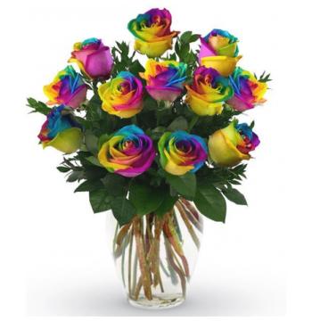 buy 12 rainbow roses vase manila