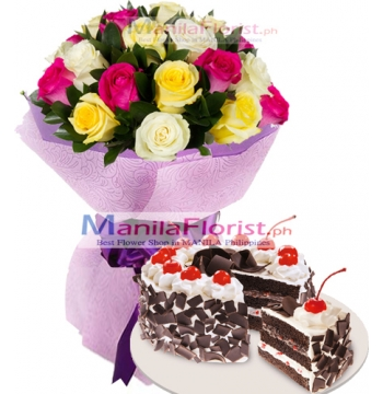 12 Mixed Roses & Chocolate Torte Cake to Manila