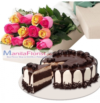 12 Mixed Roses with Tiramisu Cake to Manila