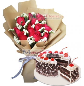 12 Red Roses w/ Chocolate Torte Cake to Manila