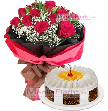 12 Red Roses with Black Forest Cake to Manila