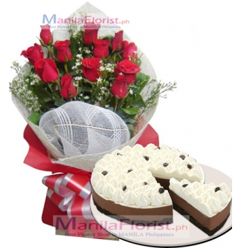 12 Red Roses with Red Ribbon Cake to Manila