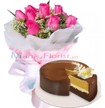12 Pink Roses with Ultimate Chocolate Cake to Manila