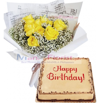 12 Yellow Roses with Red Ribbon Cake to Manila