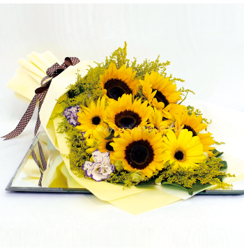 five sunflower three gerbera in bouquet to philippines