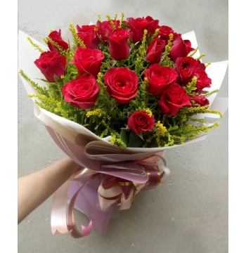 2 Dozen Red Roses in Bouquet