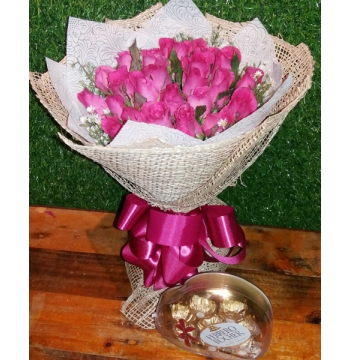 Two Dozen Pink Roses with Ferrero Rocher