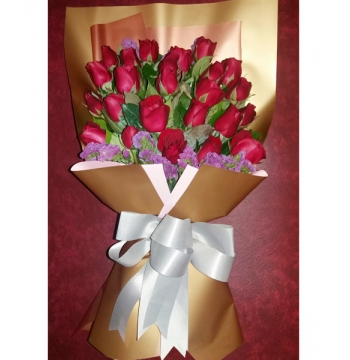 24 Pcs Red Roses in Bouquet