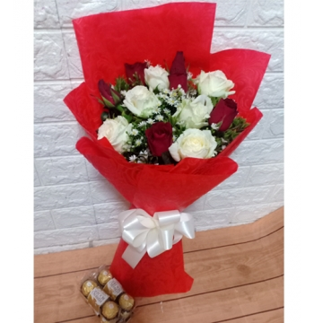 12 Red Roses with Ferrero Heart Box