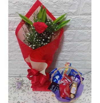 Single Rose Bouquet with Chocolates Basket