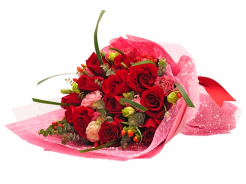 12 Red Roses Bouquet with Seasonal Bloom