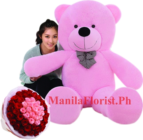 Red Teddy Bear 5 Feet, 5 Feet Giant Bear With 36 Pink And Red Roses Bouquet To Manila Philippines