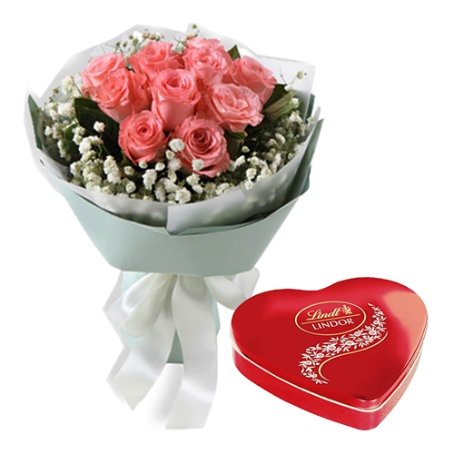 buy one dozen roses with heart shaped chocolates box manila