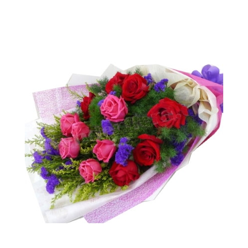 12 Red and Pink Roses Bouquet with Seasonal Flower
