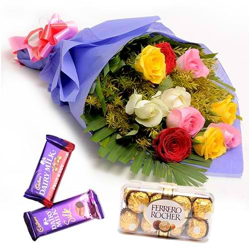 12 Mixed Roses with Ferrero Rocher and Cadbury Chocolate