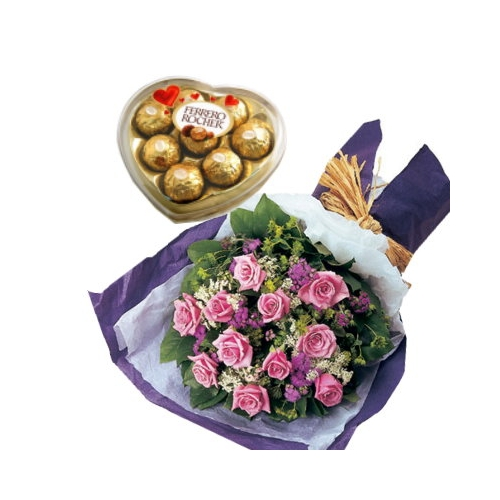 12 Pink Roses Bouquet with Ferrero Chocolate