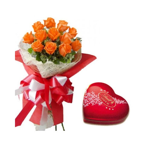 12 Orange Roses with Lindt Chocolate