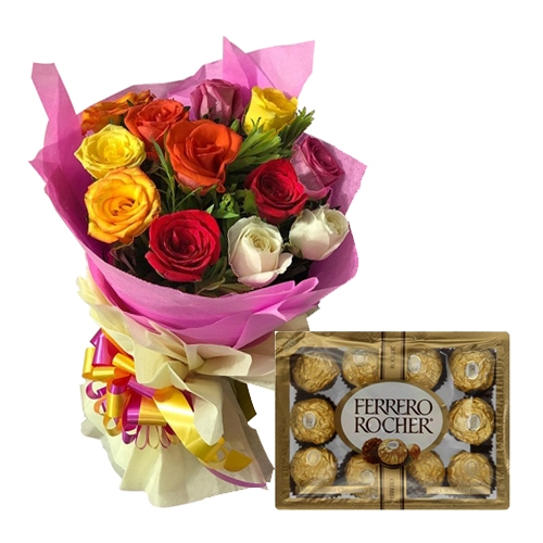 12 Mixed Roses Bouquet with Ferrero Chocolate