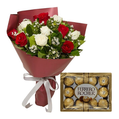 buy red white roses with 12 ferrero chocolates in manila