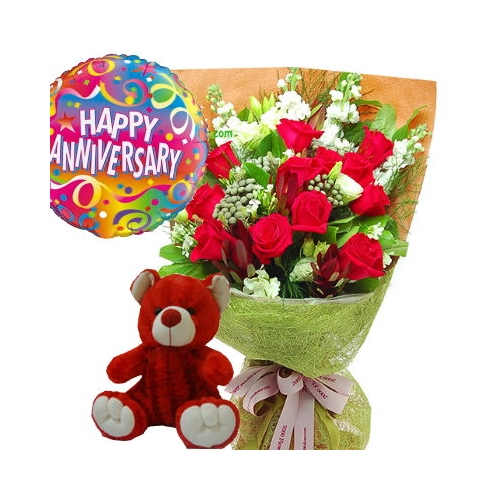 12 Red RosesRed Bear With Happy Birthday Balloon