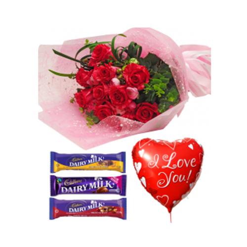 Red Roses,Cadbury Chocolate with Love U Balloon Send to Manila