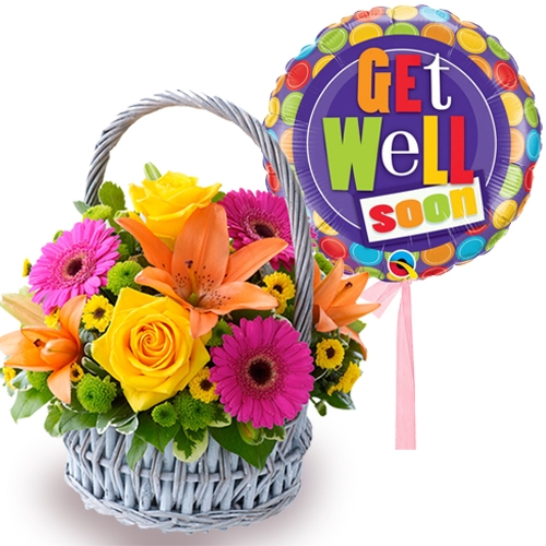 mixed flowers basket with balloon