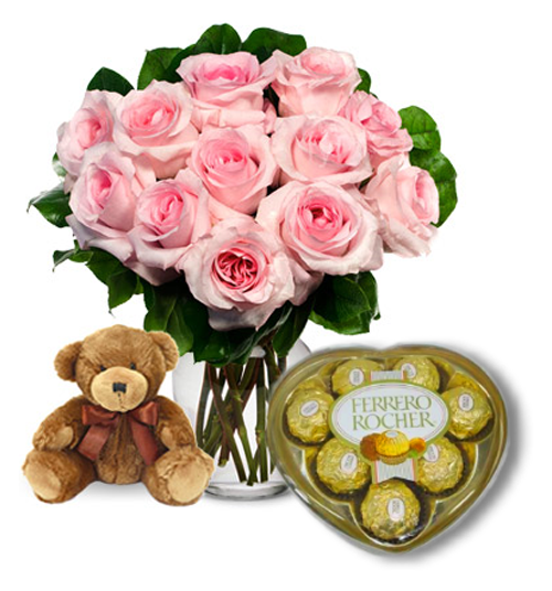 Pink Rose vase,Brown Bear with Ferrero Rocher Chocolate Send to Manila Philippines