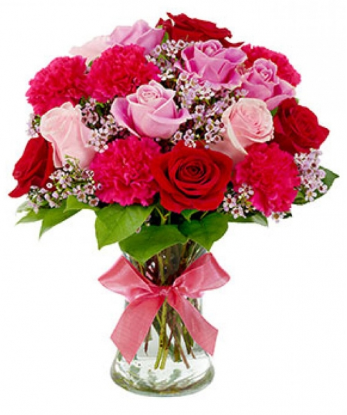Red Rose & Pink Carnations and lavender Waxflower Send to Manila Philippines