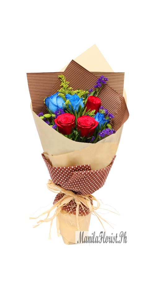 online 3 blue roses with 3 red roses bouquet in manila